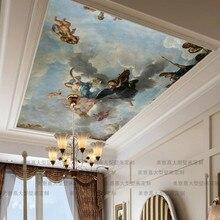 Custom Mammothภาพจิตรกรรมฝาผนังโซฟาหลังคาพื้นหลัง 3Dวอลเปเปอร์สำหรับห้องนั่งเล่นห้องนอนเพดานมุมภาพวาดสีน้ำมันภาพผนังกระดาษ 3D