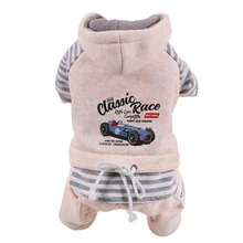 цена на Winter Dog Clothes Warm Overalls for Dogs Classic Race Stripe Teddy Chihuahua Dog Jumpsuit Fleece Hood  XS ~2XL