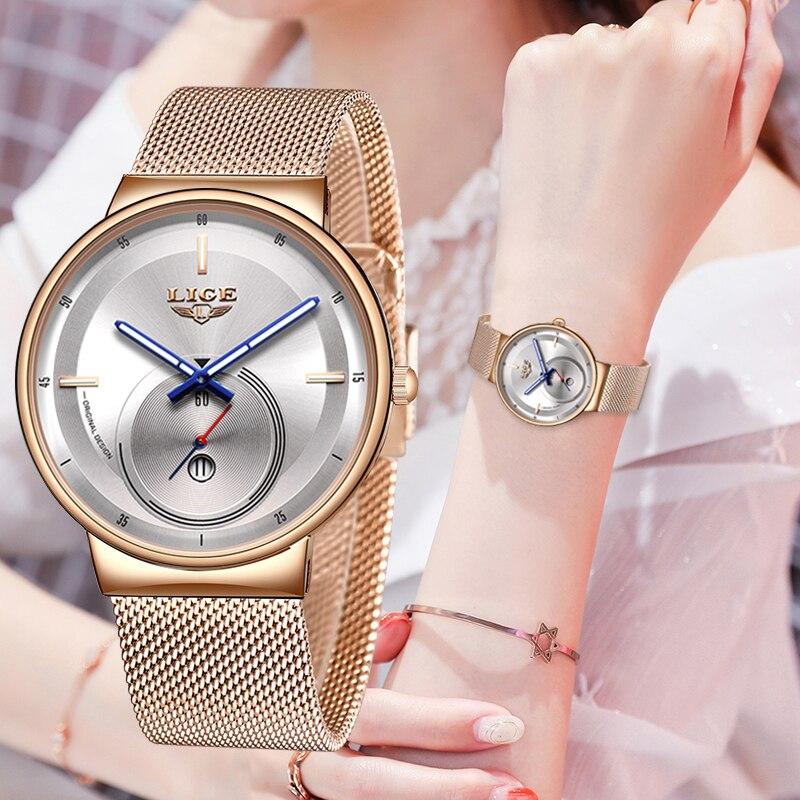 2020 Japan Quartz Movement High Quality LIGE Women All Steel Strap Rose Gold Waterproof Women Watch Dropshipping Reloj Hombre