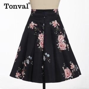 Image 5 - Tonval Pioen Bloemen Vintage EEN Lijn Zwarte Flare Swing Rokken Vrouwen Zomer Plus Size Katoen 50S Retro Skater Rok
