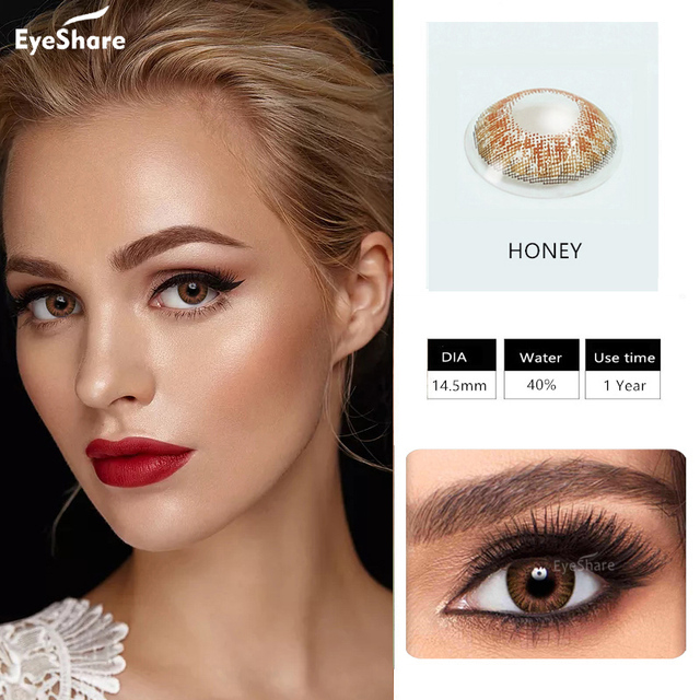 EYESHARE- 1 Pair 3 Tone Brilliant Colored Contact Lenses for Eyes Cosmetic Coloured  Eye Lenses Contacts 4