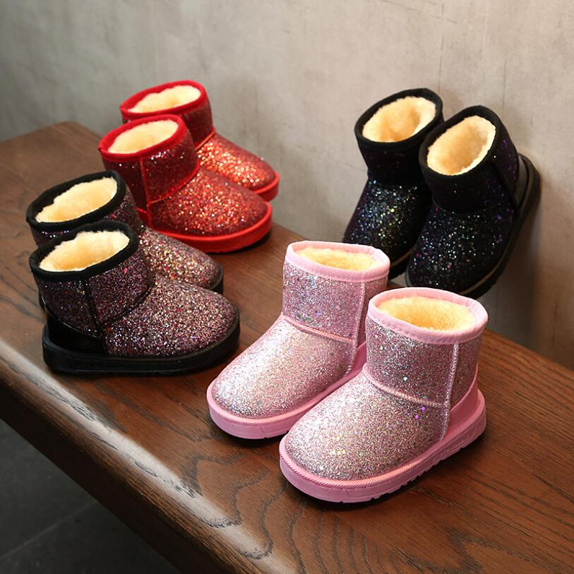 New Winter Children Snow Boots For Baby Girl Fashion Glittering Sequins Kids Warm Shoes Soft Girls Boots Pink Size 25-36