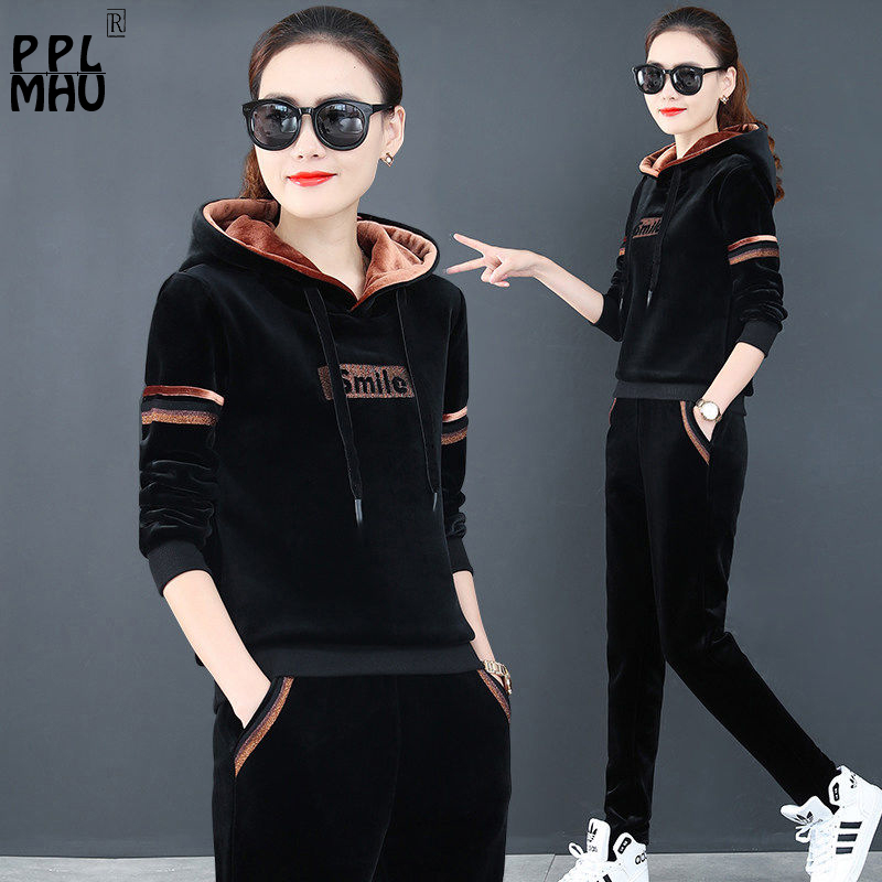 High Quality Hooded Two Piece Set Women Thicken Velvet Tracksuits Outfits Autumn Winter Casual Basic Sportswear Large Size 3XL