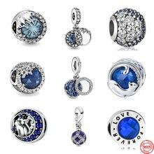 Nova chegada azul lua estrela gato floco de neve diy contas caber pandora encantos originais prata 925 feminino diy fazer jóias acessórios