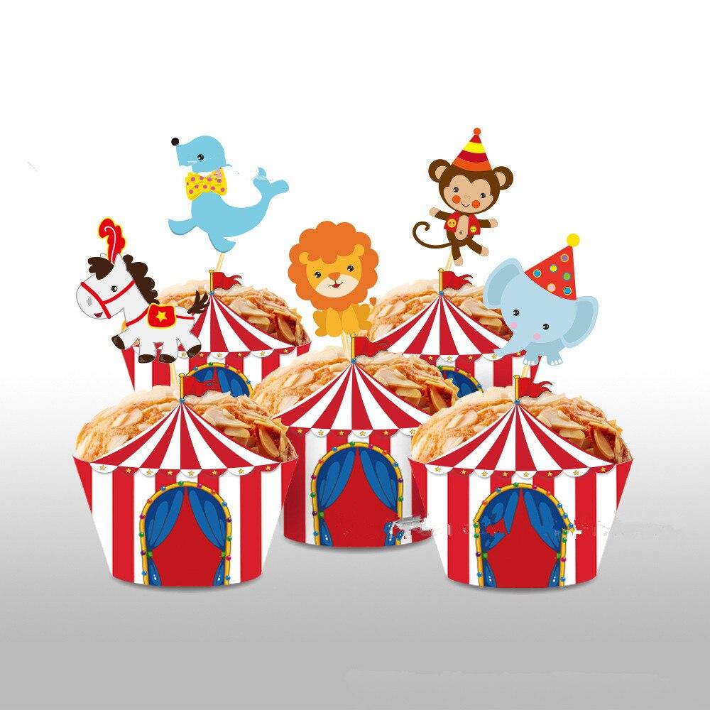20 комплектов детского дня рождения Дети сувениры цирк карнавальный украшения торта кекс Бумага обертки для ношения с обувью, счастливый Де...
