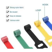 10PCS T-type Adhesive Fastener Tape Strong Harness Magic Tape Tie Reusable Hooks Loops Fasteners Back To Back Cable Storage Ties