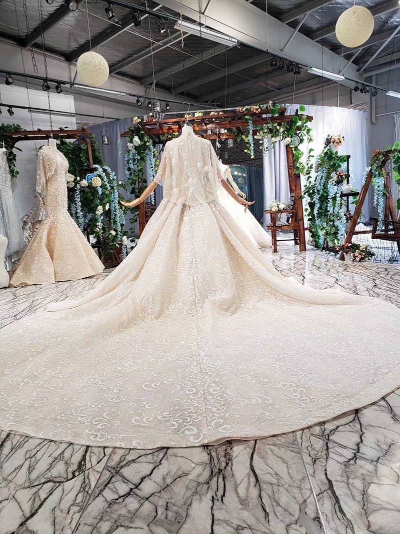 HTL721 luxury ball gown wedding dresses with mantle open back sleeveless beading appliques wedding gowns vestido de noiva civil