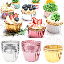 50 pçs cupcake copo de papel à prova de óleo forro do queque assadeira copo bandeja caso festa de casamento caissetes dourado muffin papel envolvente