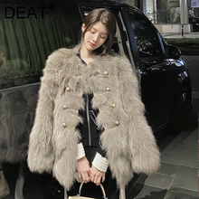 DEAT 2021 Autumn And Winter Solid Color Temperament Round-neck New Female Korean Fashion Thickened Imitation Fur Coat 7I2488