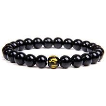 Натуральный камень черный браслет из ониксовых бусин с шестью символами истинное слово браслет для женщин мужчин буддистские четки ювелирные изделия