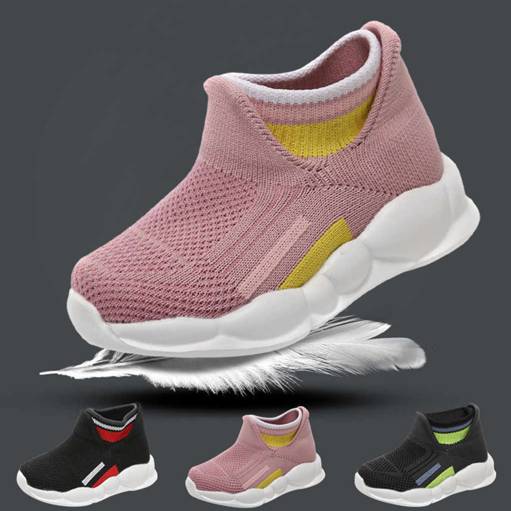 Girls Boys Sport Stretch Mesh Shoes Sock Infant Kids Baby Running Sneakers children's Solid Breathable sneakers on the boy 2020