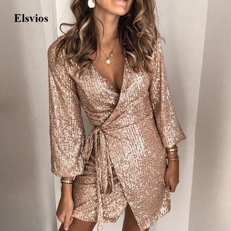 Sexy V-Neck Sequin Wrap Bodycon Dress Women Autumn Long Sleeve Glitter Mini Dress Gold Elegant Bandage Slim Party Dress Vestidos