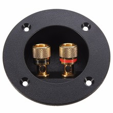 LEORY Speaker Terminal Board Round Double Binding Post Screw Connector Car Stereo Subwoofer Gold Plated Plug Socket 4mm