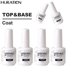 Huration Soak Off LED UV Nail Polish Top Coat Gel Polish Base and Topcoat Top Coat Art Gel Nail Polish Not Wipe Long Lasting