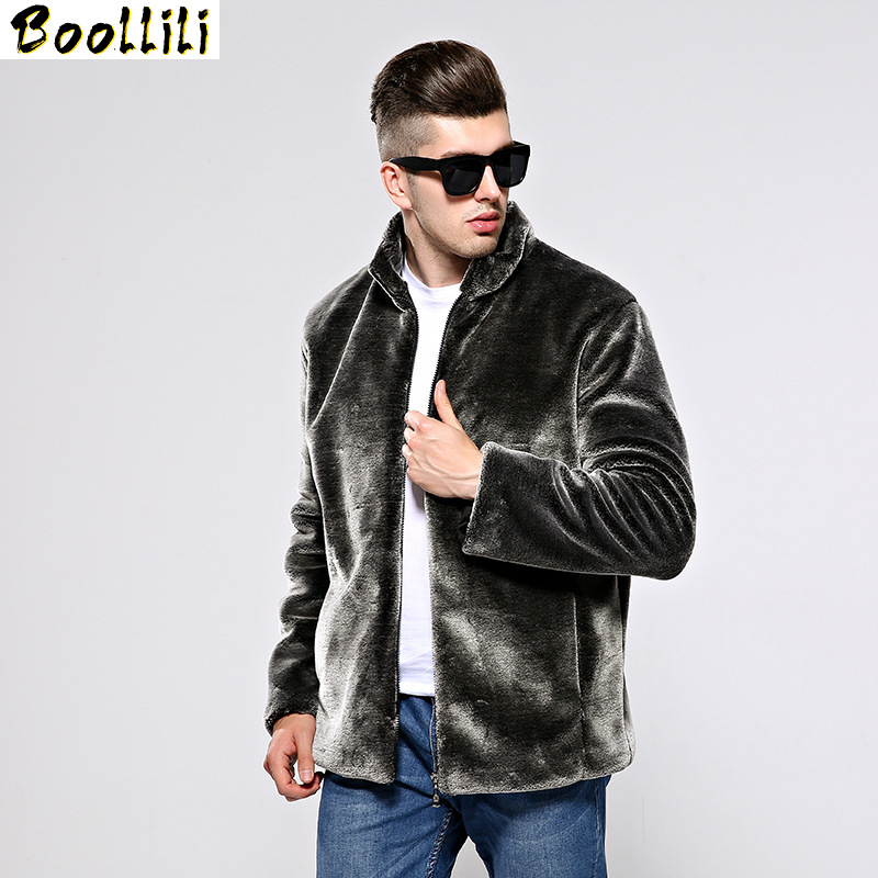 Boollili Autumn Winter Coat Men Faux Fur Coat Jacket Man Imitation Mink Fur Coats Men's Clothing Overcoat Jaqueta De Couro