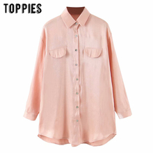 pink shirts women long sleeve oversize tops harajuku satin long shirts