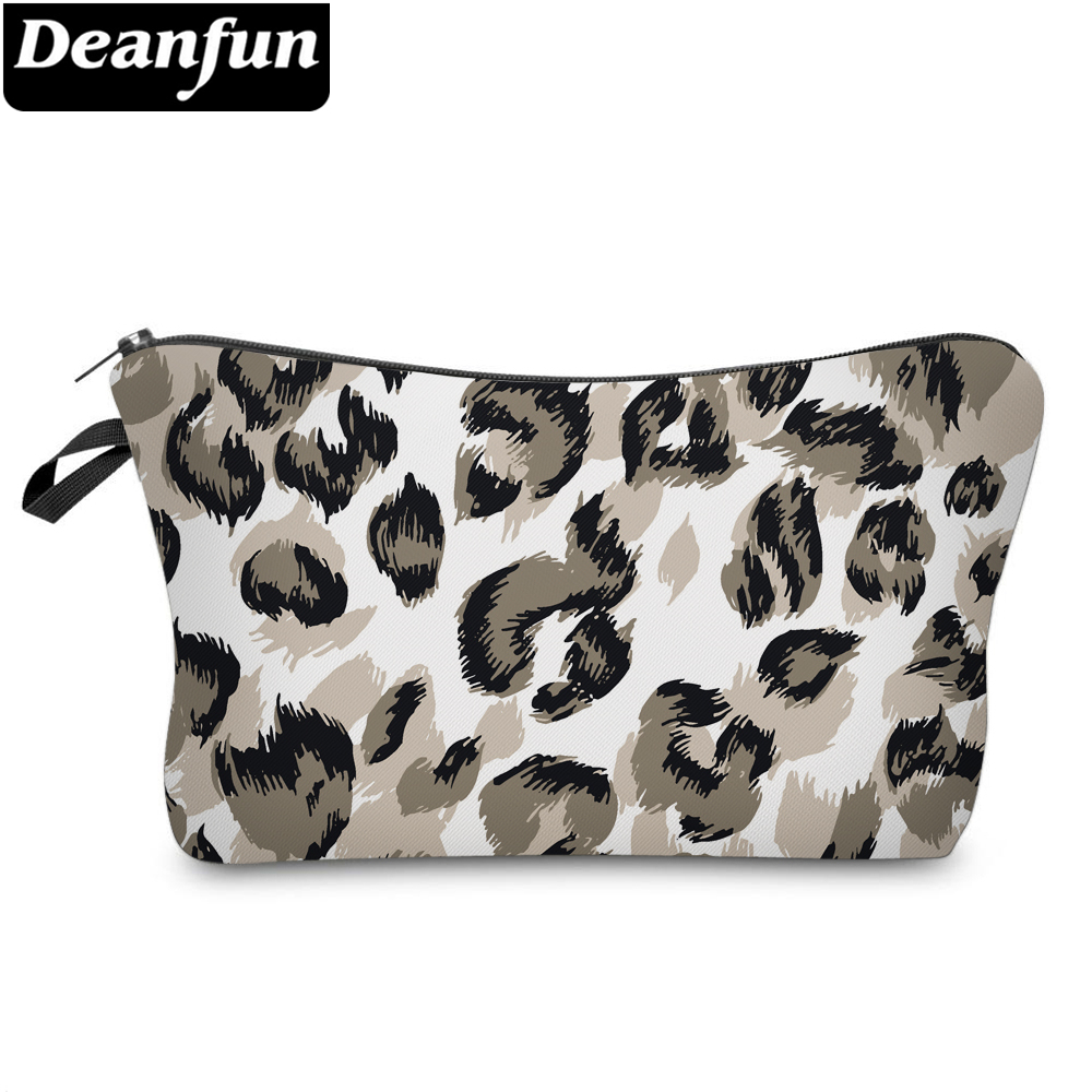 Deanfun Leopard Small Cosmetic Bag 3D Printed Waterproof Stylish Makeup Bag Polyester Makeup Bags For Women 51679