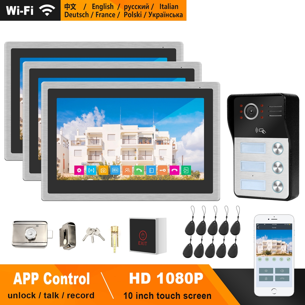 HomeFong WiFi Video Intercom For Apartment 10 Inch Touch Screen Monitor 1080P Doorbell Support Electric Lock Smart Phone Control