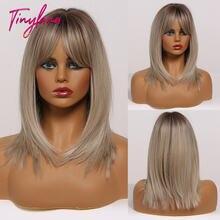 Крошечные прямые волосы Ланы bobo средней длины с челкой смешанные