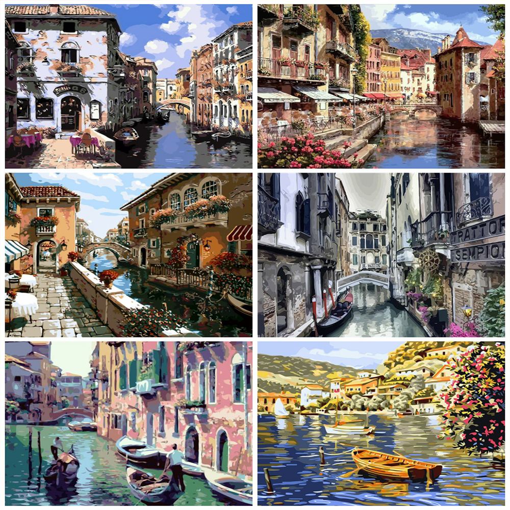 HUACAN Pictures By Numbers Venice Landscape Paint Canvas Coloring Oil Painting City HandPainted Home Decoration