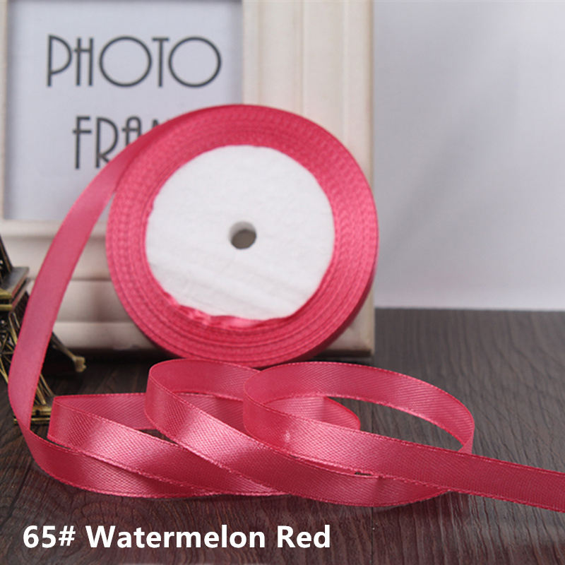 25 ярдов/рулон 6 мм 10 мм 15 мм 20 мм 25 мм 40 мм 50 мм шелковые атласные ленты для рукоделия бант ручной работы подарочная упаковка вечерние свадебные декоративные - Цвет: 65 watermelon red
