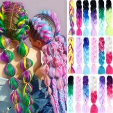 Техническая характеристика 24-дюймовый длинные синтетические ломбер Джамбо плетение волос косы крючком Розовый Синий Золотой 100г/ПК Африканский высокая температура волокна волос