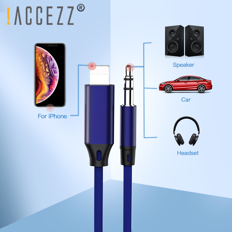 !ACCEZZ For Lighting Car Audio Cable To 3.5mm Jacks Speaker Cable For Iphone 7 8 Plus X Xr Xs Max Headphones MP3 Music AUX Cord
