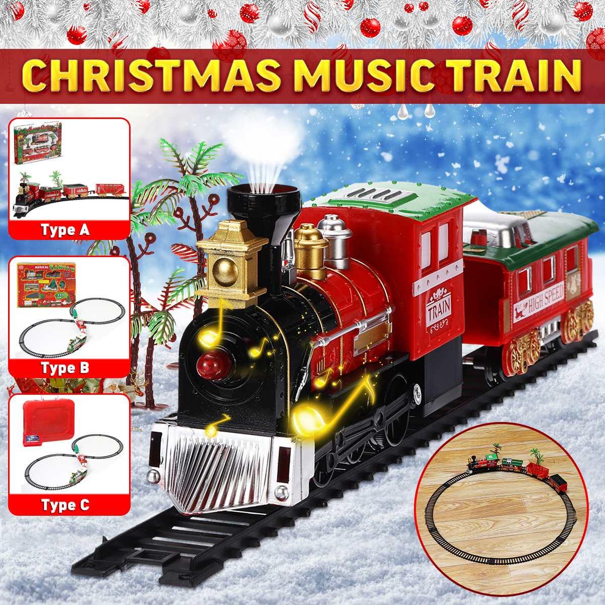 Christmas Train Set Railway Rail Tracks Toys Electric Railway Train Set with Locomotive Engine Cars Lights And Sounds Xmas Gift