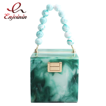 New Acrylic Box Marble Texture Women Luxury Party Handbags Purses and Vintage Ladies Beaded Tote Bag  Shoulder