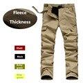 Брюки-карго мужские двухслойные, теплые мешковатые штаны, брюки из флиса, военные камуфляжные Тактические Водонепроницаемые армейские
