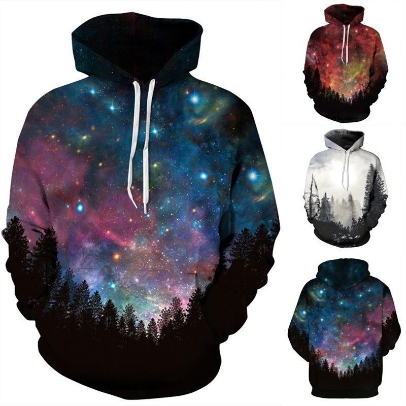 3D Print Hoodies Polyester Pocket Hooded Galaxy Print Warm Sweatshirt Women/Men Winter Casual Pullover