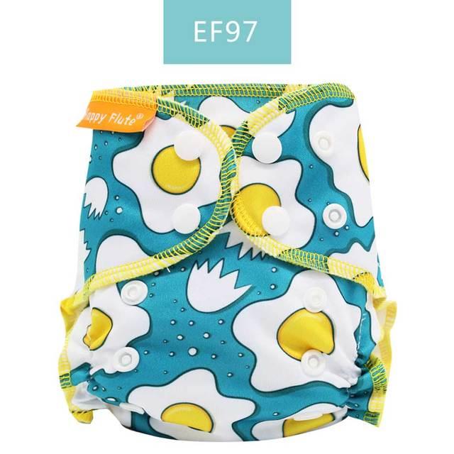 Happy Flute-couches de nouveau-né en coton organique | Petite couche en tissu AIO, PUL étanche pour bébé de 3 à 6KG