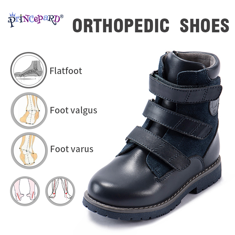 Princepard Specialized High Waist Orthopedic Winter Boots For Kids Black Fleece Lining Insoles Genuine Leather Upper 23-36 Size