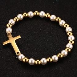 Vnox Pearl Beaded Bracelet for Woman Bible Cross Gold color Stainless Steel Women Jewelry