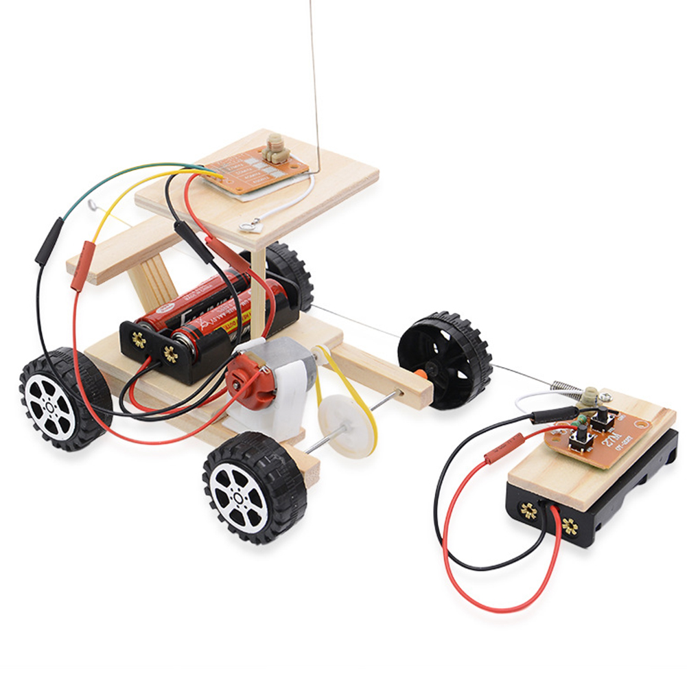 Physical Radio Knowledge Racing Model Kit Wooden Wireless Motor Principle Set Remote Control Assembled Safe Science Experiments
