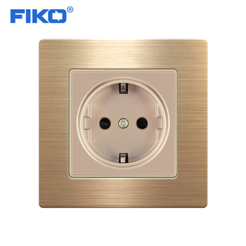 FIKO 16A EU Standard Wall Socket Luxury Power Outlet Stainless Steel Brushed Silver Panel Electrical Plug AC 110~250V 5pcs 16a 250v e 08 eu female socket black industrial ac extended power cord connector electrical socket