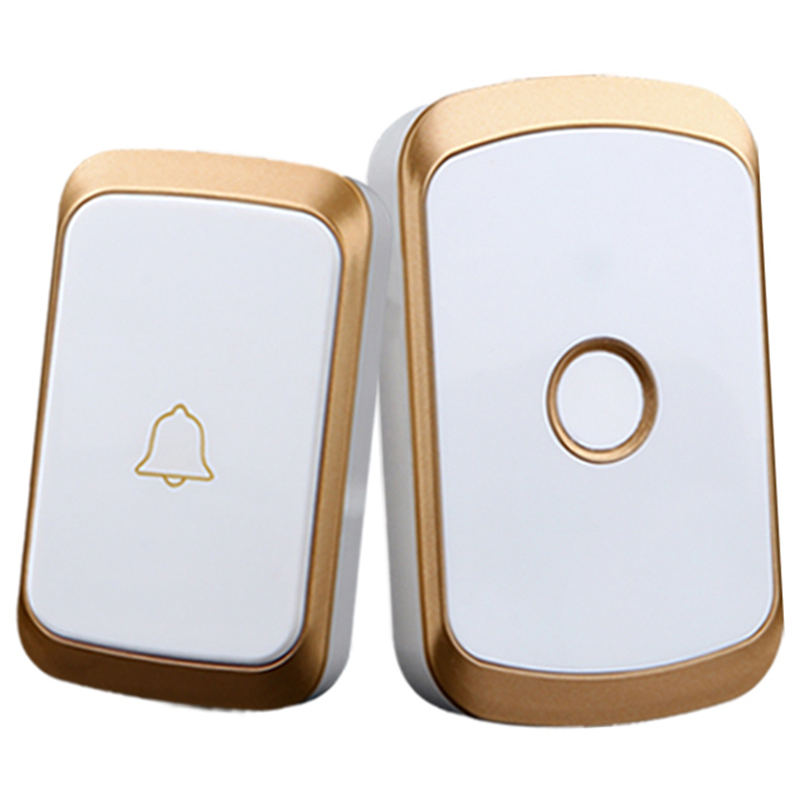 FFYY-Wireless Doorbell Ac 110-220V Smart Digital Waterproof Push Button Doorbell 36 Melody 4 Volume Cordless Door Ring Eu Plug