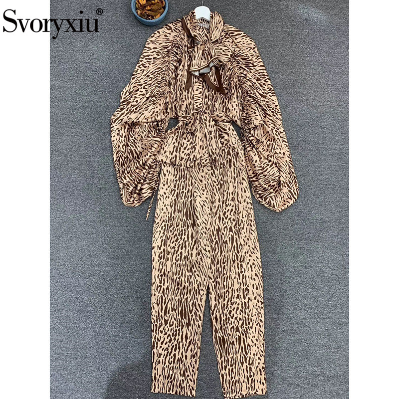 Svoryxiu Fashion Designer Autumn Vintage Leopard Printed Two Piece Set Women's Puff Sleeve Scarf Blouse + Pants Casual Suits