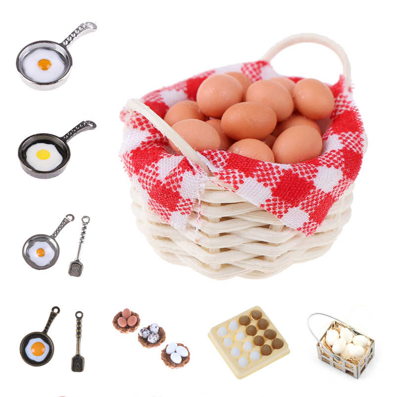 New Dollhouse Miniature pan fried eggs pot Kitchen set food toys accessories dolls Pretend Play Toys Xmas gifts