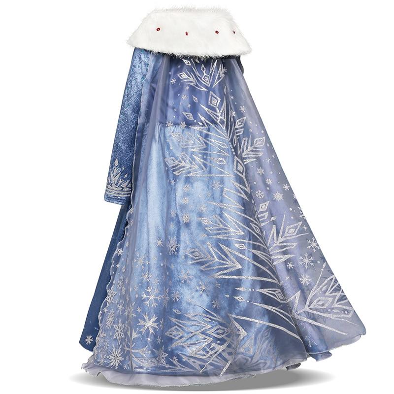 Dresses For Girls Princess Queen Cosplay Kids Costume Snowflake Henderson Party Dress Vestidos Children Girls Clothing 4
