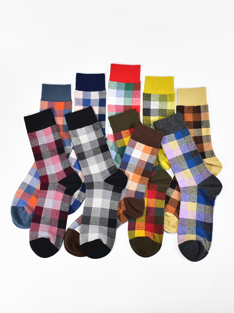 Cotton Socks Business Plaid Gentleman Happy-Fashion-Design Men's Colorful Casual New