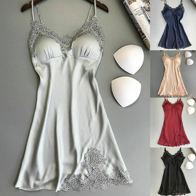 Fashionable Women Sexy Soft And Comfortable Satin Lace Sleepwear Summer Sling V-neck Nightdress Solid Color