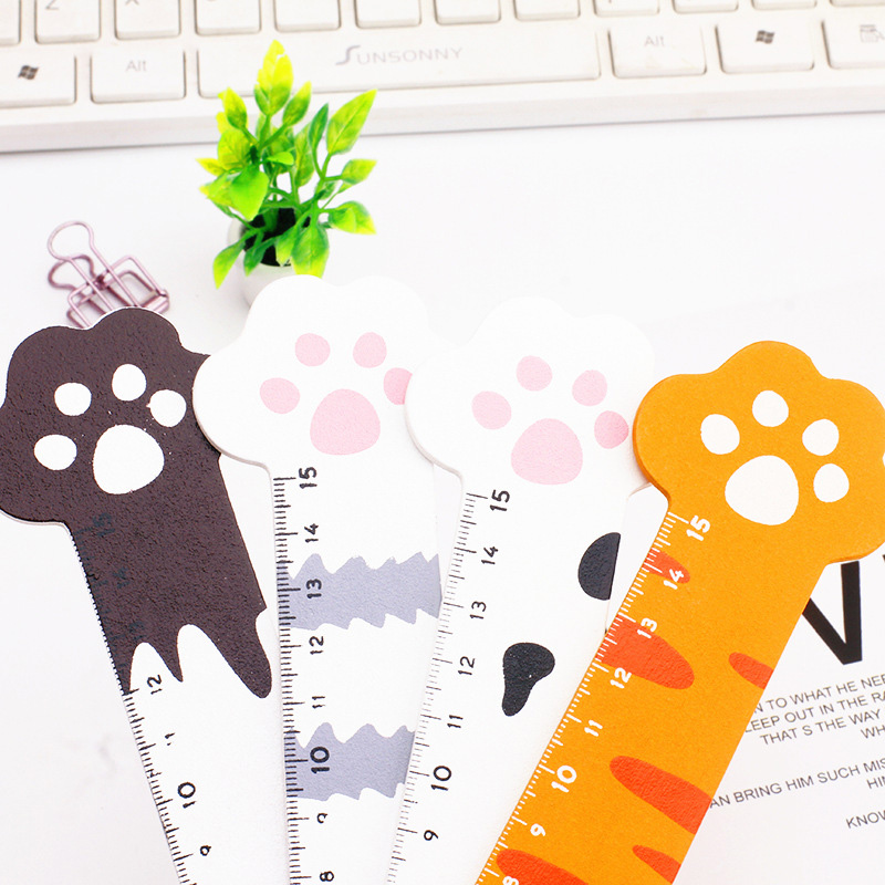 1PC 15CM Kawaii Cat Claw Rulers Cute Wooden Rulers For Childrens Girls Gift School Office Supplies Measure Tools Stationery