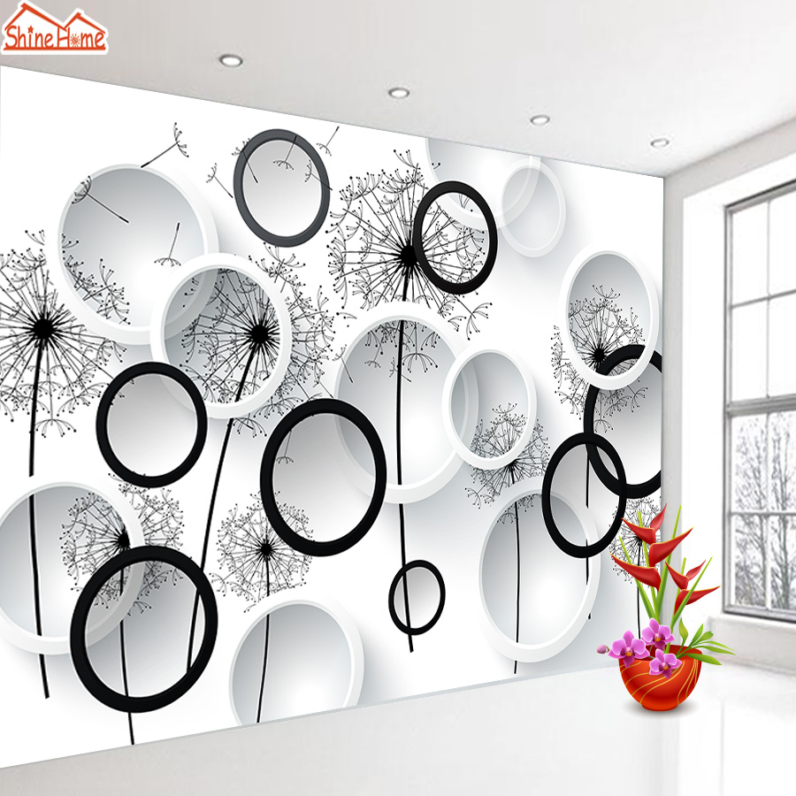 3d Photo Mural Photo Wallpaper  Removable Nature Wallpapers For Living Room Black White Dandelion Contact Paper Wall Glitter Art
