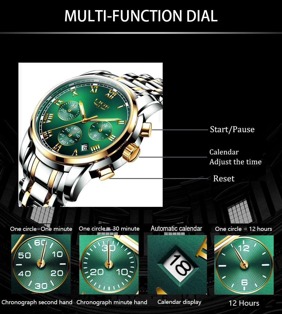 Hc3fa5c8f0c3b48c5bea1bb35cd9bc955R Relojes Hombre LIGE New Watches Men Luxury Brand Chronograph Male Sport Watches Waterproof Stainless Steel Quartz Men Watch