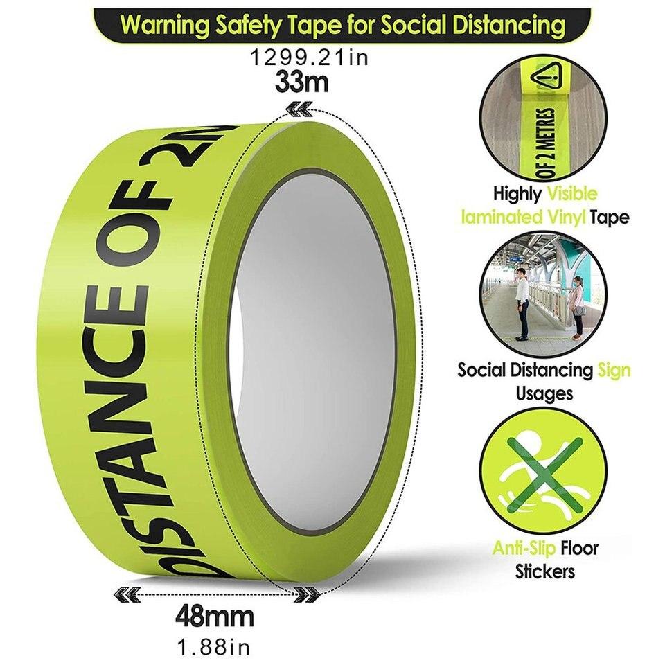 Distancia social piso cinta 50mm X 33m distancia de seguridad marca emergencia
