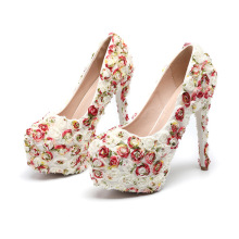 Fashion 3D Colorful Rose Floral Lace Wedding Shoes Plus Size 34 to 43CM Platform Heels Bridal Shoes Princess Pumps Platform Shoe plus size 34 40 fashion lace wedding shoes white for women handmade bridal shoe comfortable heel platforms brides shoes