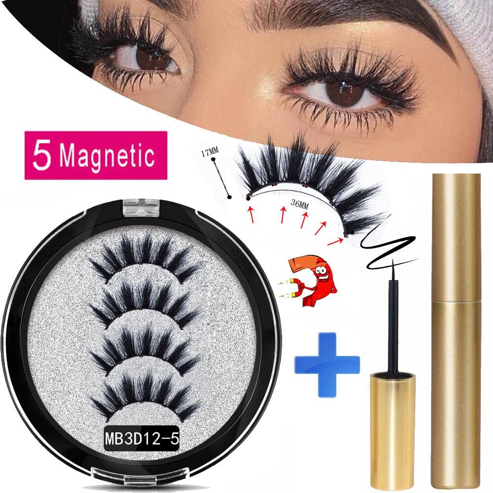 MB 2020 Long Magnetic Eyelashes 5 Magnet False Eyelashes Makeup Extension 3D Mink Lashes Faux Cils Magnetique Naturel + Tweezers
