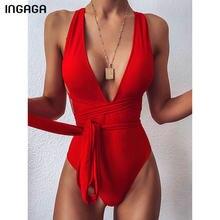 Ingaga 2021セクシーな胸元水着ワンピースハイカット水着女性クロス包帯ビーチウェア夏背中の女性