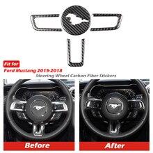 Mustangคาร์บอนไฟเบอร์พวงมาลัยสัญลักษณ์สำหรับFord Mustangรถสติกเกอร์รถ จัดแต่งทรงผม 2015 2018 Mustangสติกเกอร์อุปกรณ์เสริม